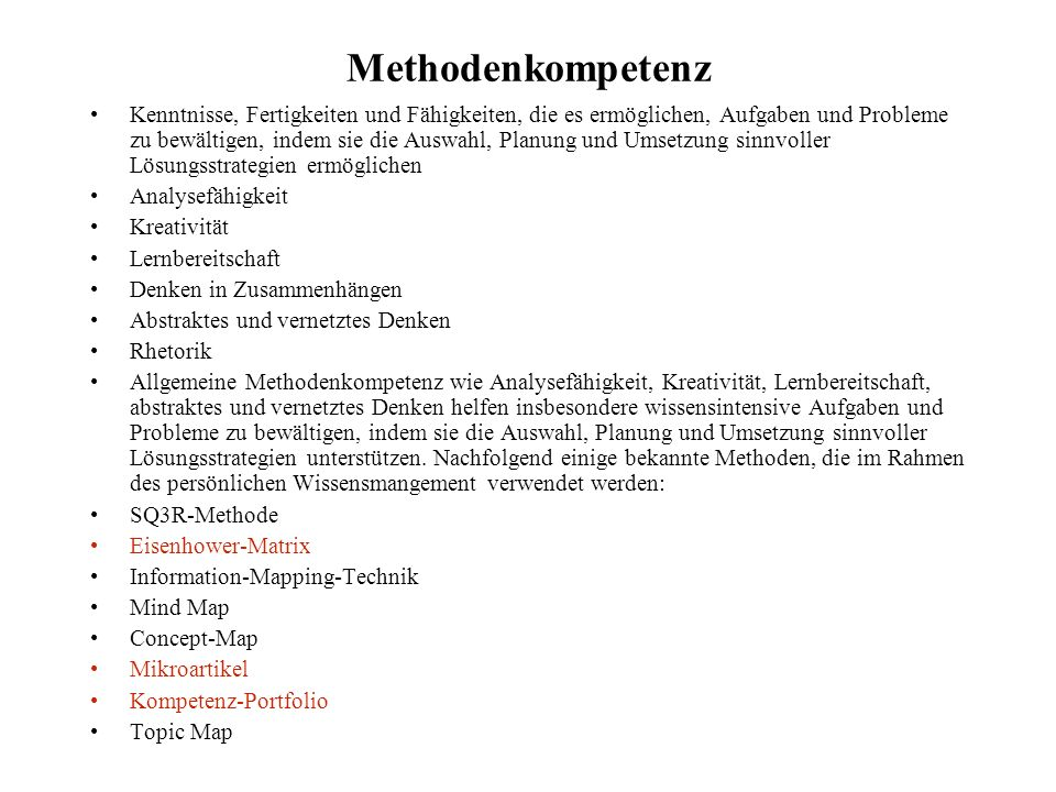 Methodenkompetenz