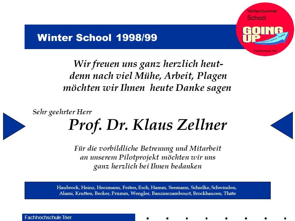 Prof. Dr. Klaus Zellner Wir freuen uns ganz herzlich heut-