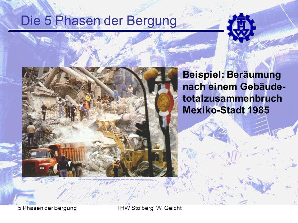 Die 5 Phasen der Bergung Beispiel: Beräumung nach einem Gebäude-totalzusammenbruch Mexiko-Stadt 1985.