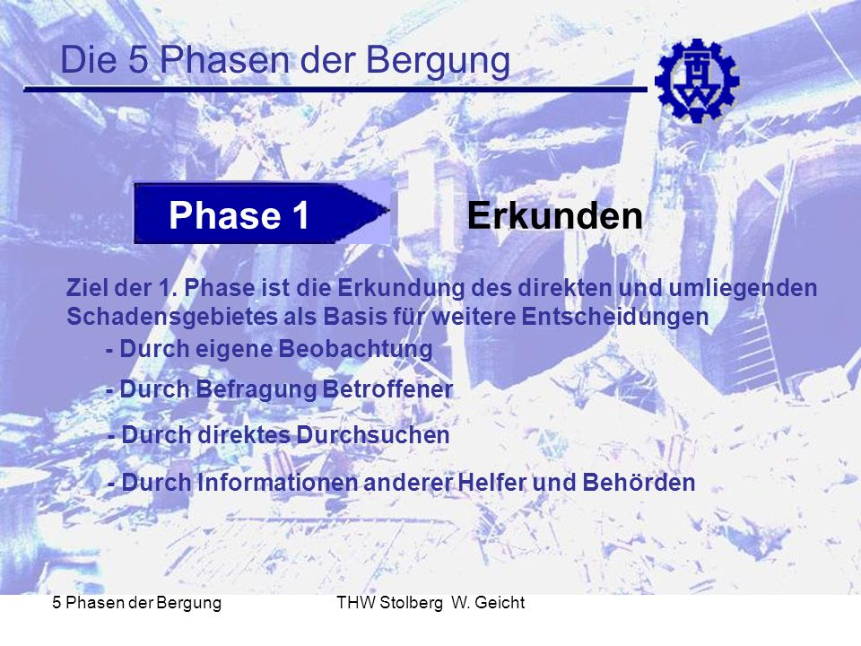 Die 5 Phasen der Bergung Phase 1 Erkunden