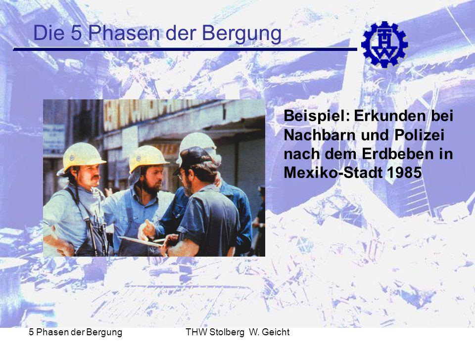 Die 5 Phasen der Bergung Beispiel: Erkunden bei Nachbarn und Polizei nach dem Erdbeben in Mexiko-Stadt 1985.