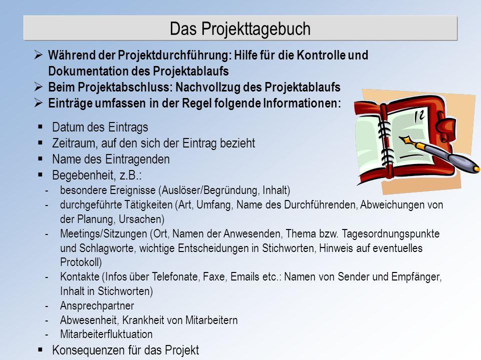 Das Projekttagebuch Während der Projektdurchführung: Hilfe für die Kontrolle und Dokumentation des Projektablaufs.