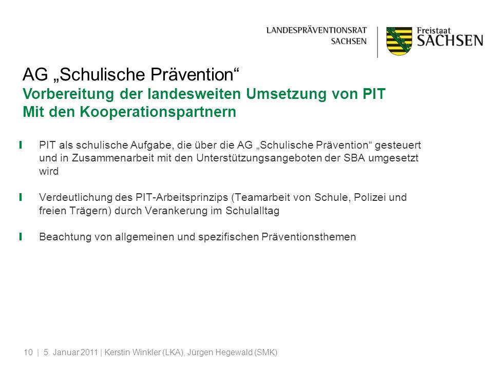 """AG """"Schulische Prävention Vorbereitung der landesweiten Umsetzung von PIT"""