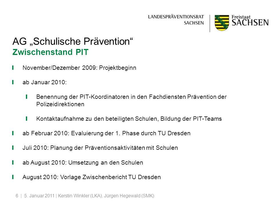 """AG """"Schulische Prävention Zwischenstand PIT"""