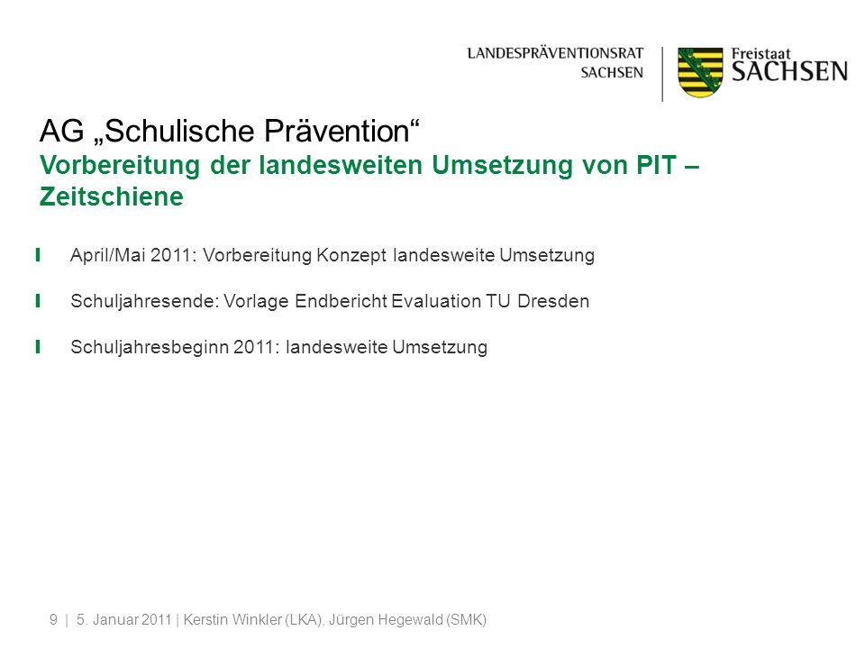"""AG """"Schulische Prävention Vorbereitung der landesweiten Umsetzung von PIT –"""