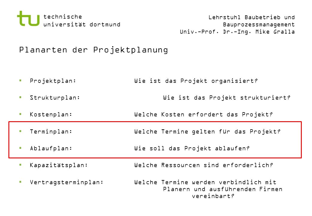Planarten der Projektplanung