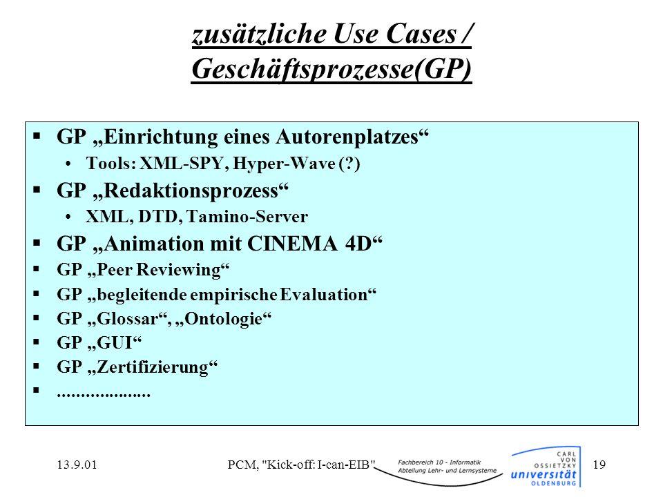 zusätzliche Use Cases / Geschäftsprozesse(GP)
