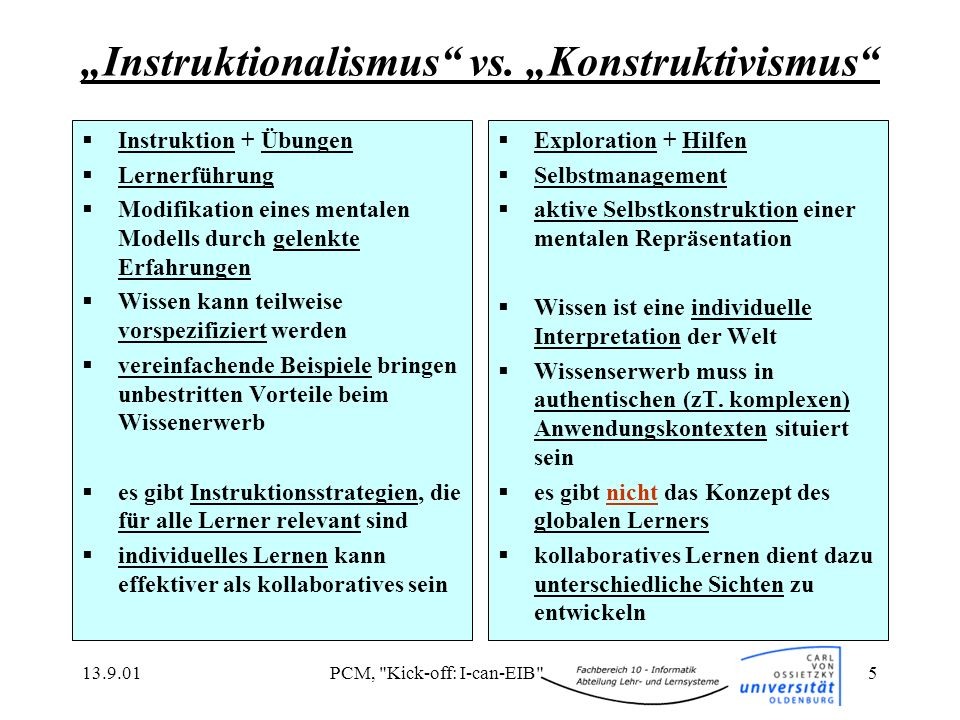 """""""Instruktionalismus vs. """"Konstruktivismus"""