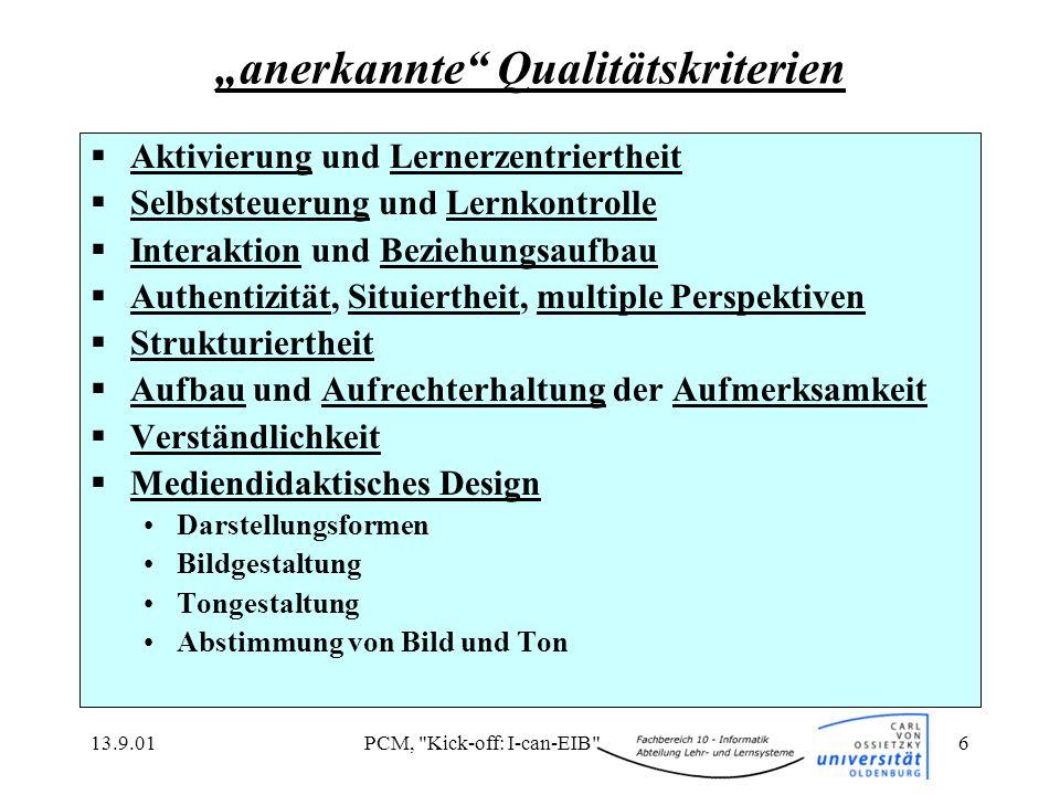 """anerkannte Qualitätskriterien"