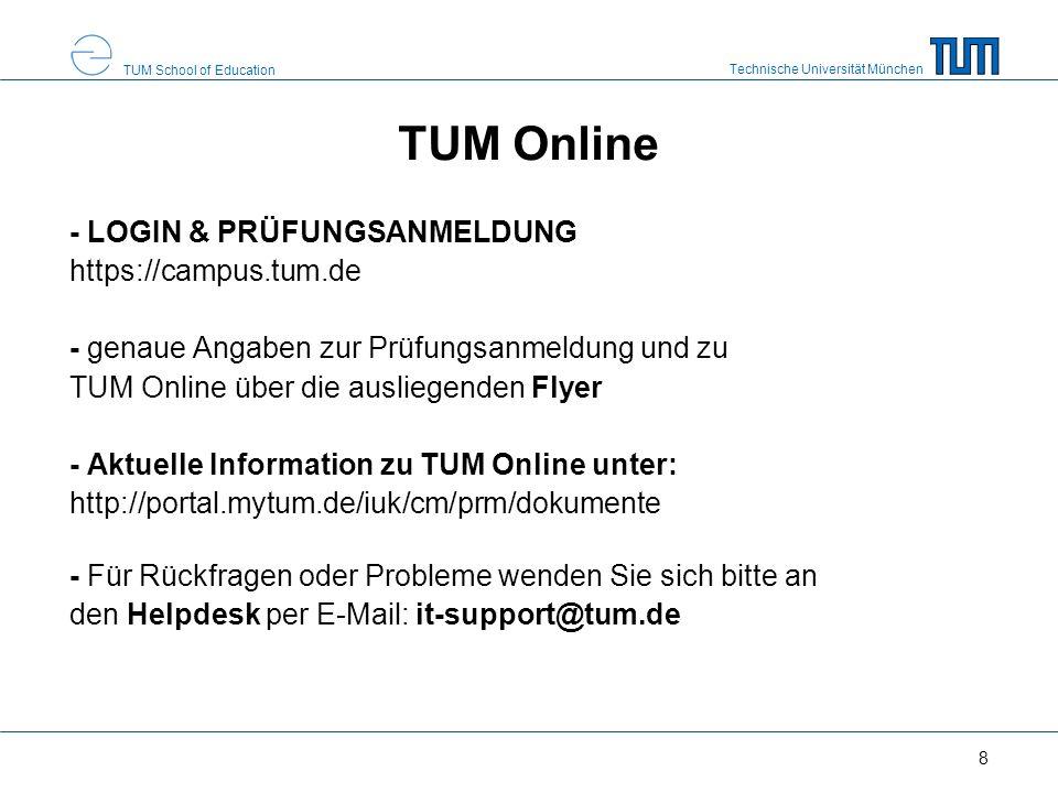 TUM Online - LOGIN & PRÜFUNGSANMELDUNG https://campus.tum.de