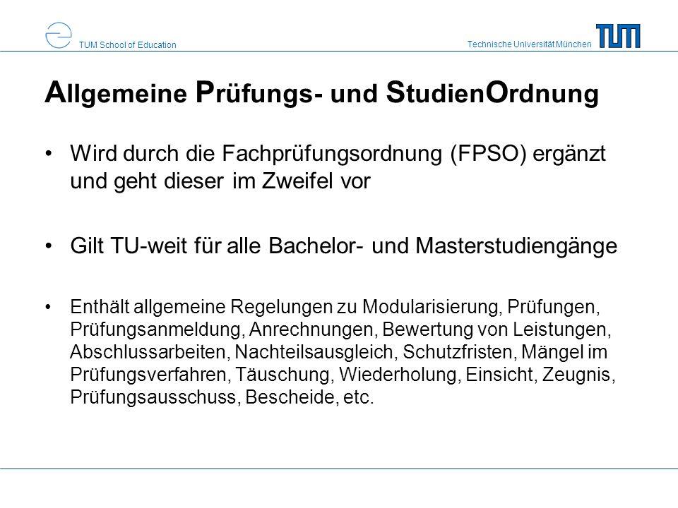 Allgemeine Prüfungs- und StudienOrdnung
