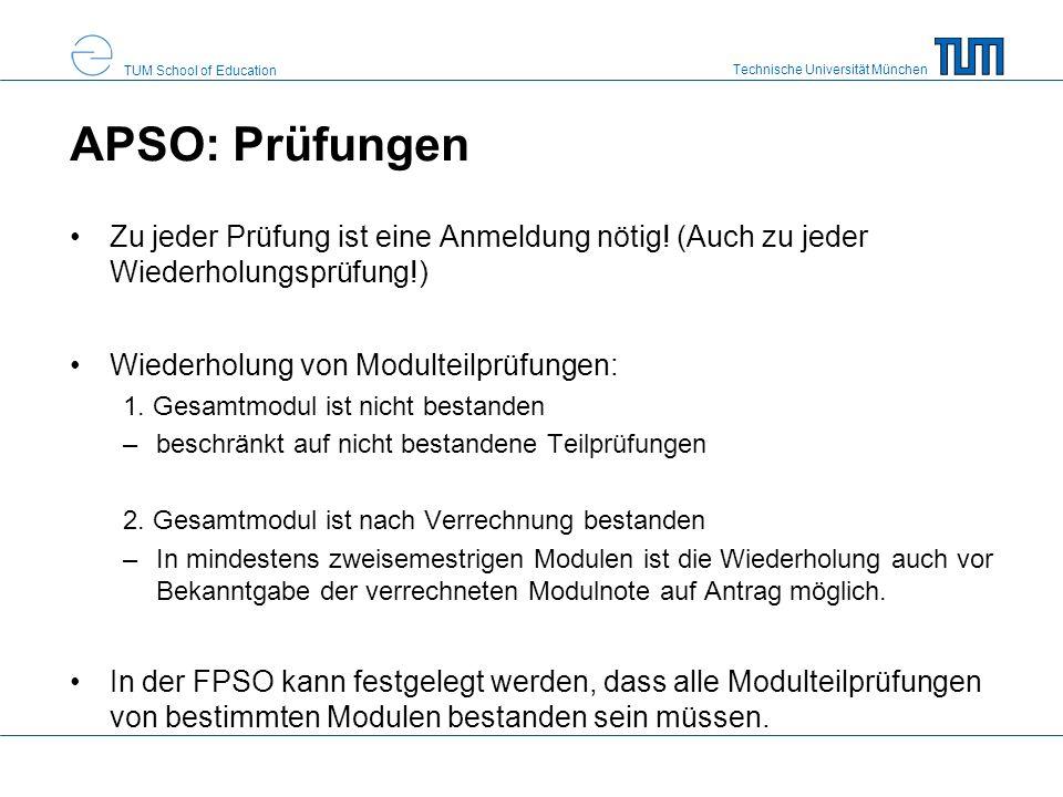 APSO: Prüfungen Zu jeder Prüfung ist eine Anmeldung nötig! (Auch zu jeder Wiederholungsprüfung!) Wiederholung von Modulteilprüfungen: