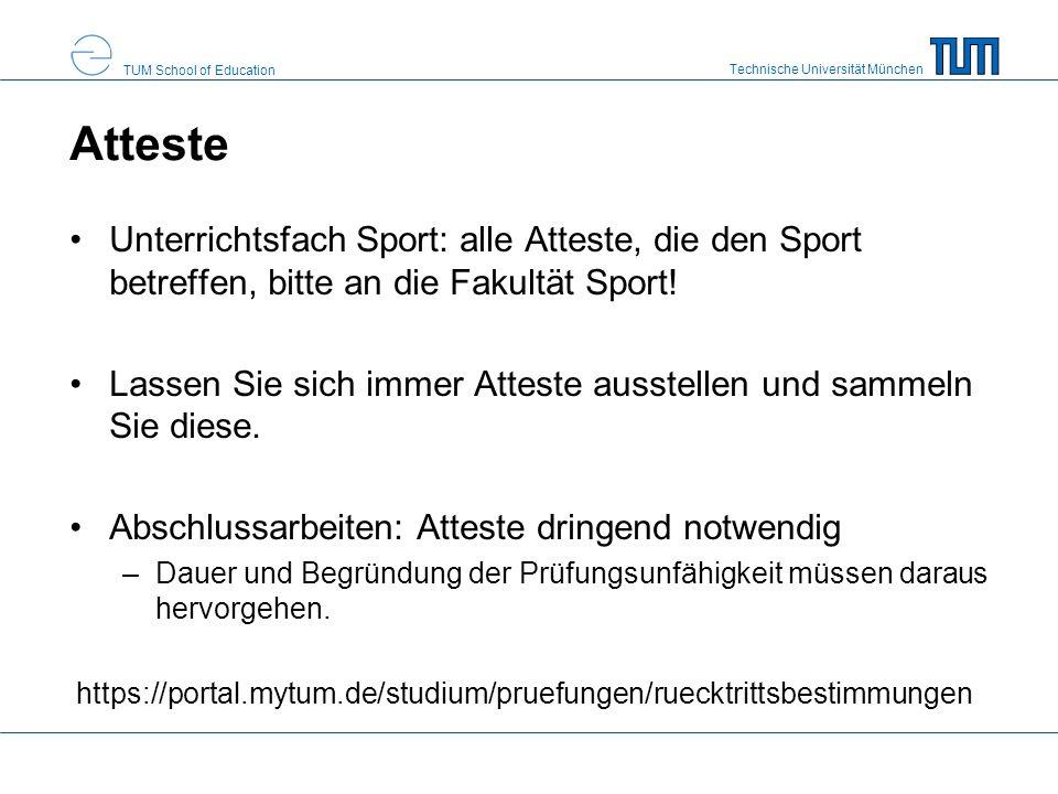 Atteste Unterrichtsfach Sport: alle Atteste, die den Sport betreffen, bitte an die Fakultät Sport!