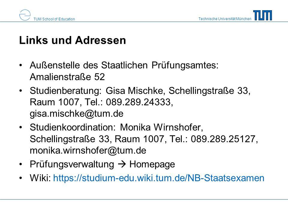 Links und Adressen Außenstelle des Staatlichen Prüfungsamtes: Amalienstraße 52.