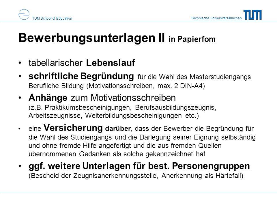 Bewerbungsunterlagen II in Papierfom
