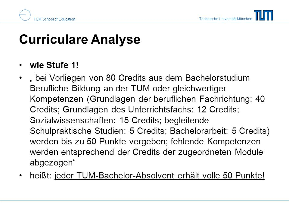 Curriculare Analyse wie Stufe 1!