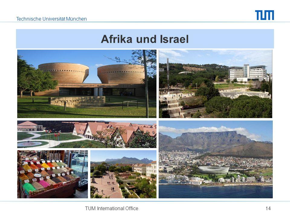Afrika und Israel Links oben: Universität Tel Aviv, Israel