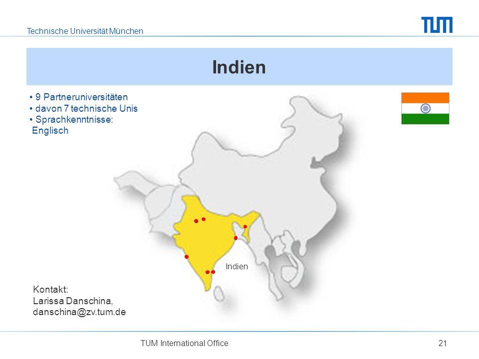 Indien 9 Partneruniversitäten davon 7 technische Unis