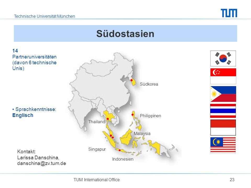 Südostasien 14 Partneruniversitäten (davon 6 technische Unis)