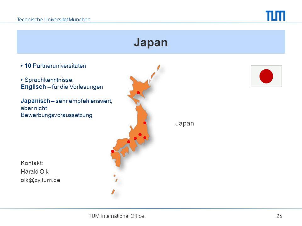 Japan 10 Partneruniversitäten Sprachkenntnisse: