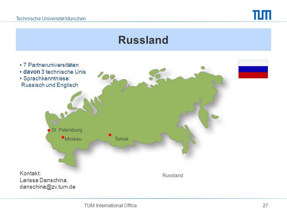 Russland 7 Partneruniversitäten davon 3 technische Unis