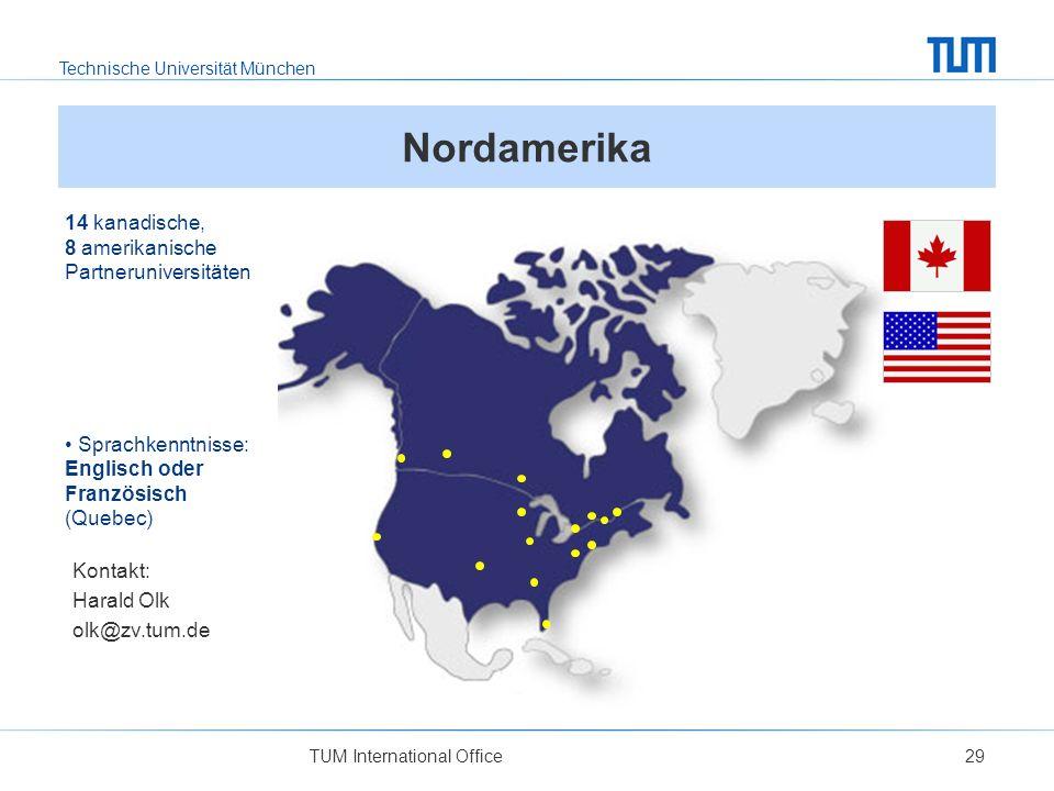 Nordamerika 14 kanadische, 8 amerikanische Partneruniversitäten