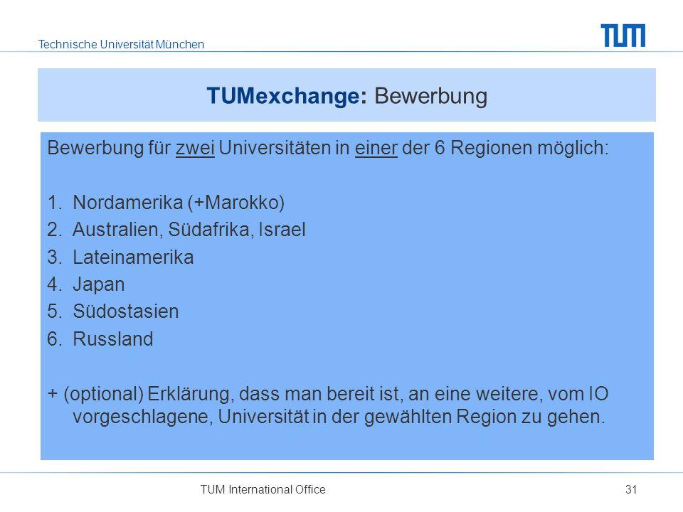 TUMexchange: Bewerbung