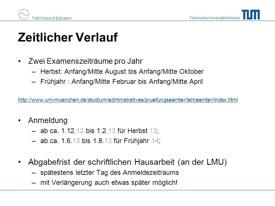 Zeitlicher Verlauf Zwei Examenszeiträume pro Jahr. Herbst: Anfang/Mitte August bis Anfang/Mitte Oktober.
