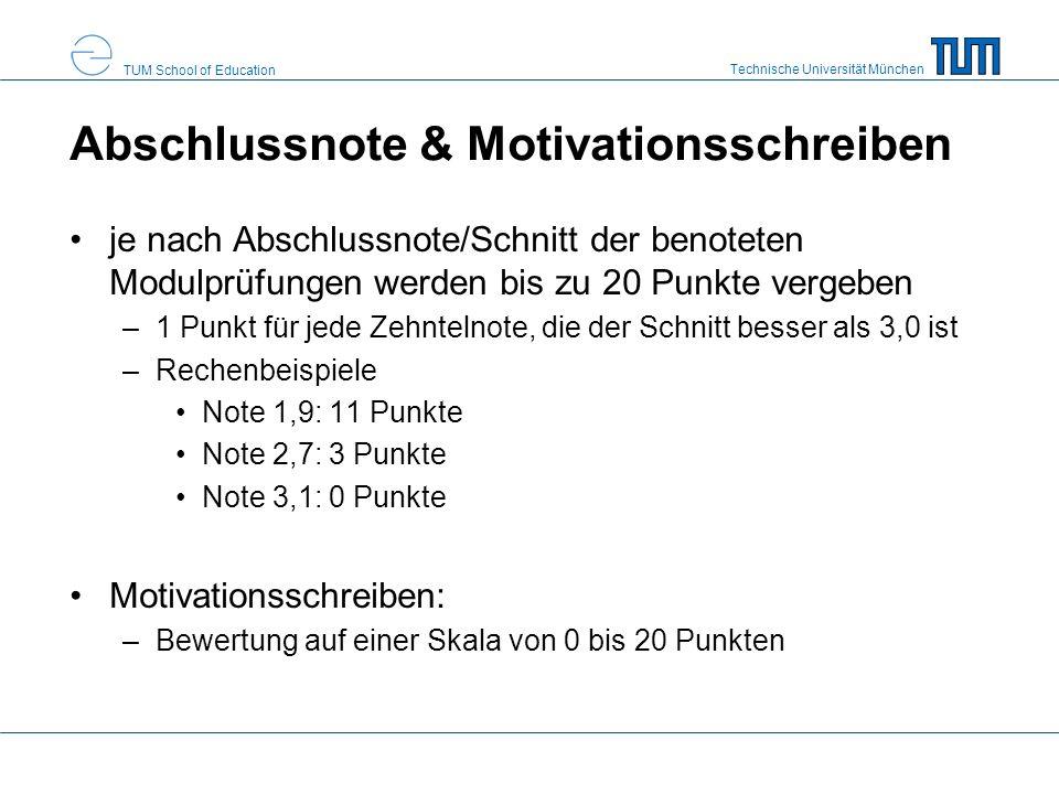 Abschlussnote & Motivationsschreiben