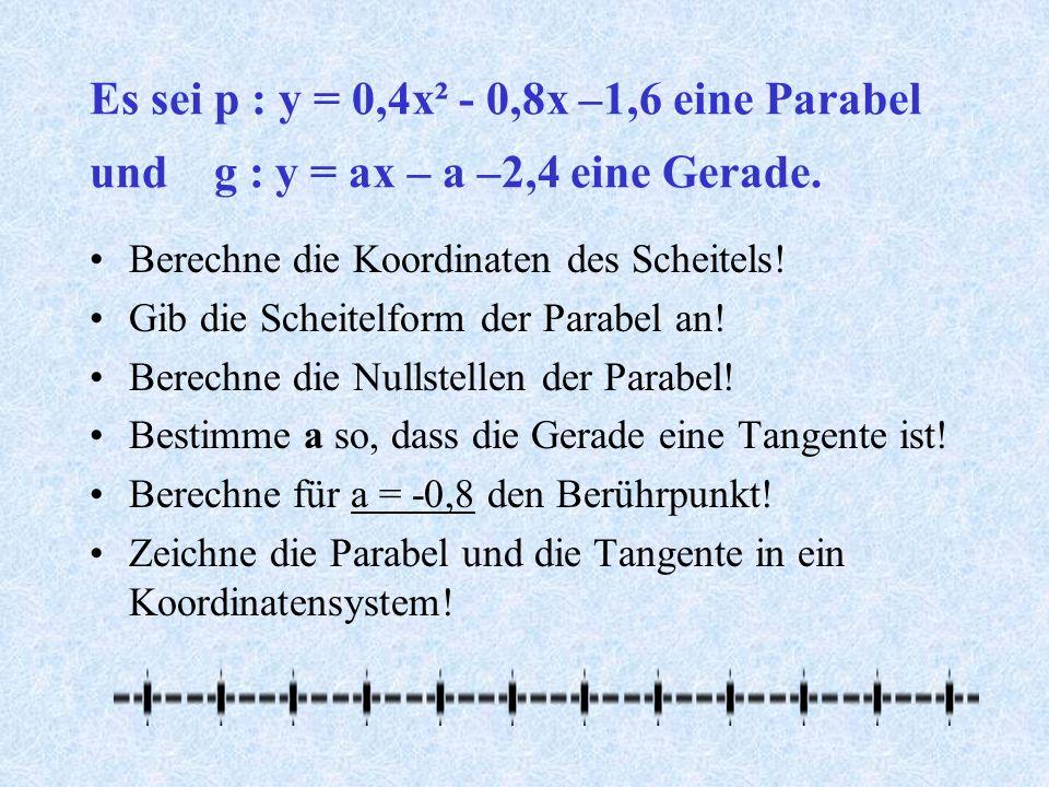 Es sei p : y = 0,4x² - 0,8x –1,6 eine Parabel und g : y = ax – a –2,4 eine Gerade.