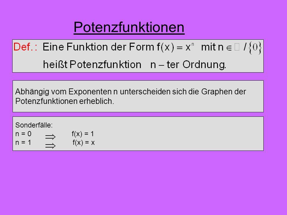 Potenzfunktionen Abhängig vom Exponenten n unterscheiden sich die Graphen der. Potenzfunktionen erheblich.