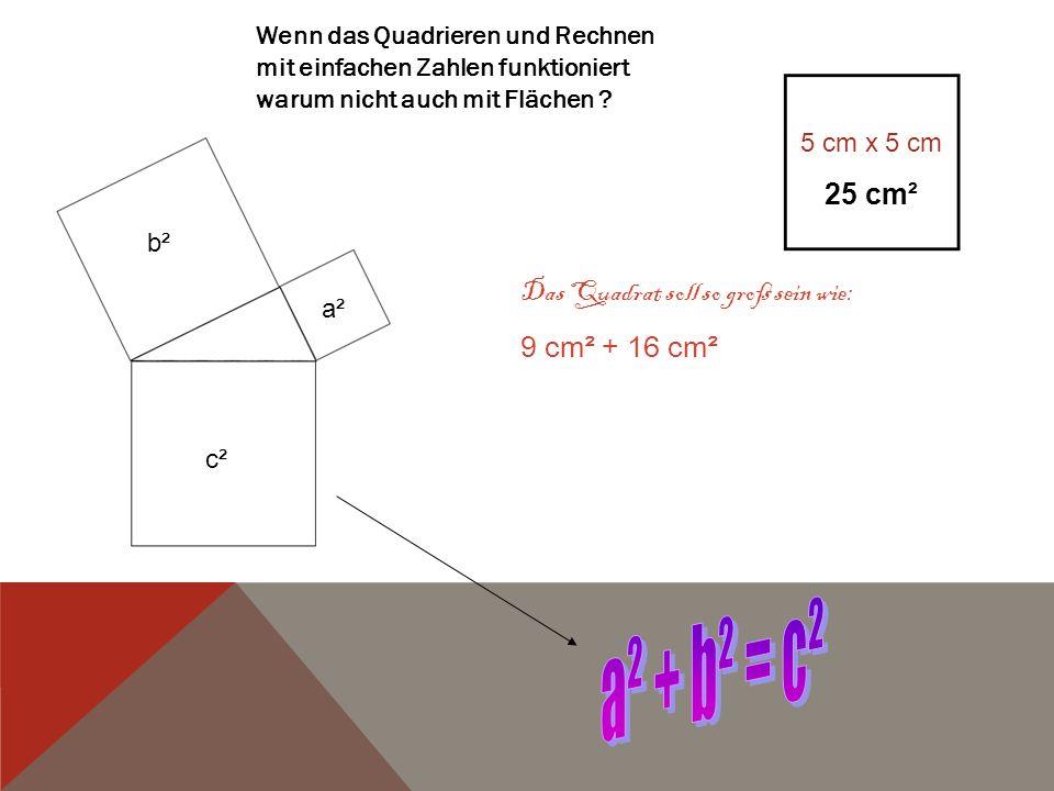 a² + b² = c² 25 cm² Das Quadrat soll so groß sein wie: 9 cm² + 16 cm²