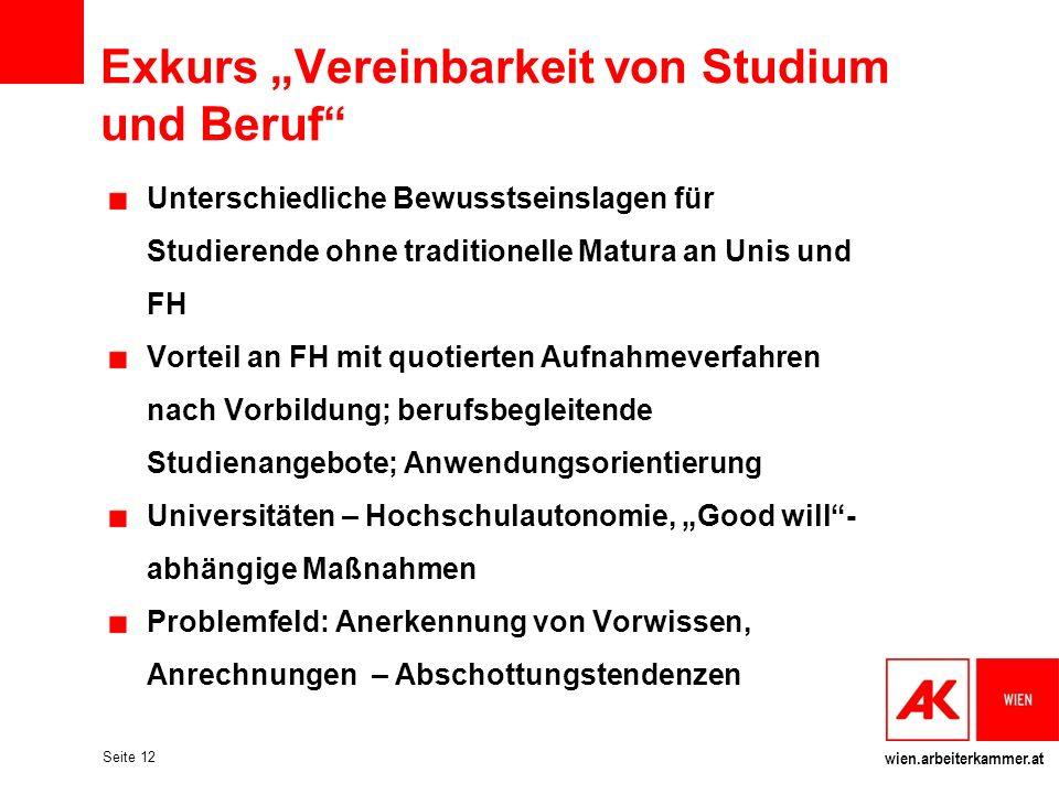 """Exkurs """"Vereinbarkeit von Studium und Beruf"""