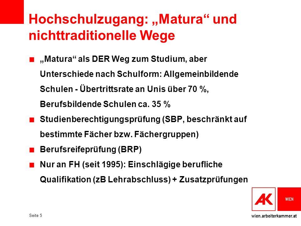 """Hochschulzugang: """"Matura und nichttraditionelle Wege"""