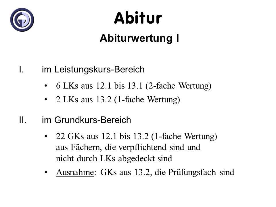 Abitur Abiturwertung I I. im Leistungskurs-Bereich