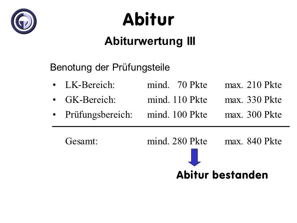 Abitur Abiturwertung III Benotung der Prüfungsteile