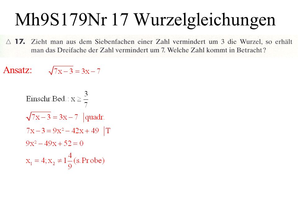 Mh9S179Nr 17 Wurzelgleichungen
