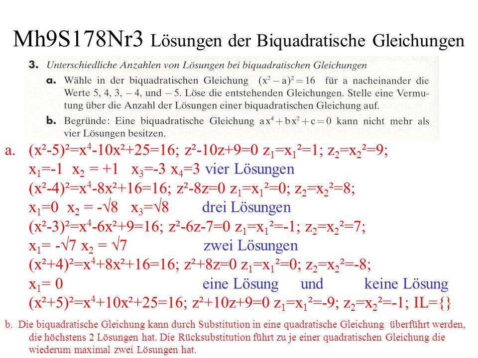 Mh9S178Nr3 Lösungen der Biquadratische Gleichungen