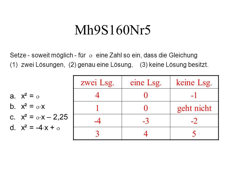Mh9S160Nr5 zwei Lsg. eine Lsg. keine Lsg. 4 -1 1 geht nicht -4 -3 -2 3