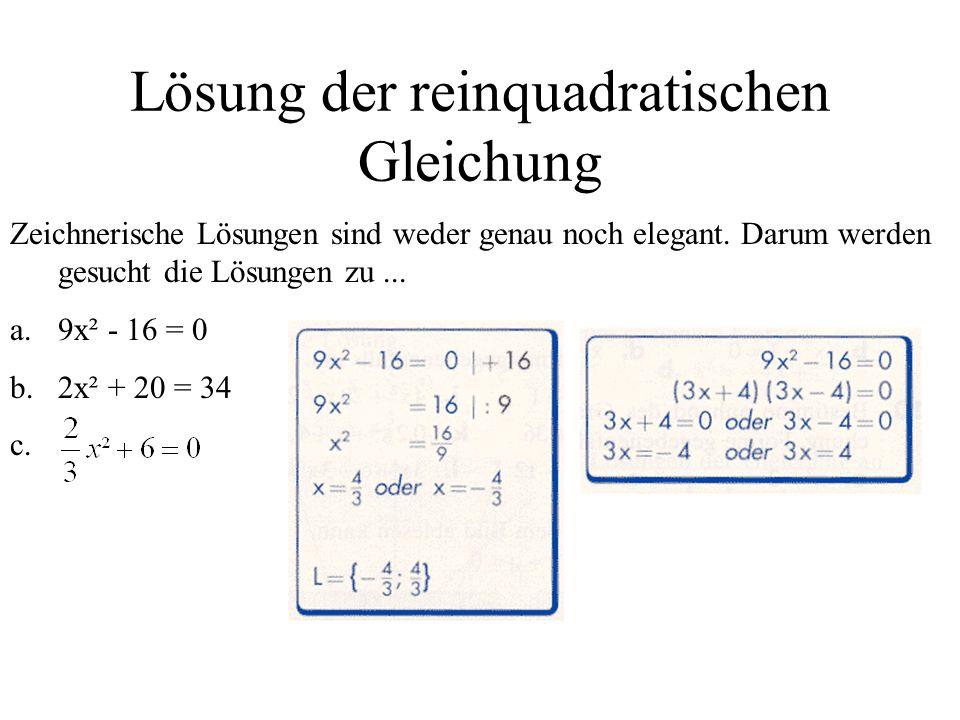 Lösung der reinquadratischen Gleichung