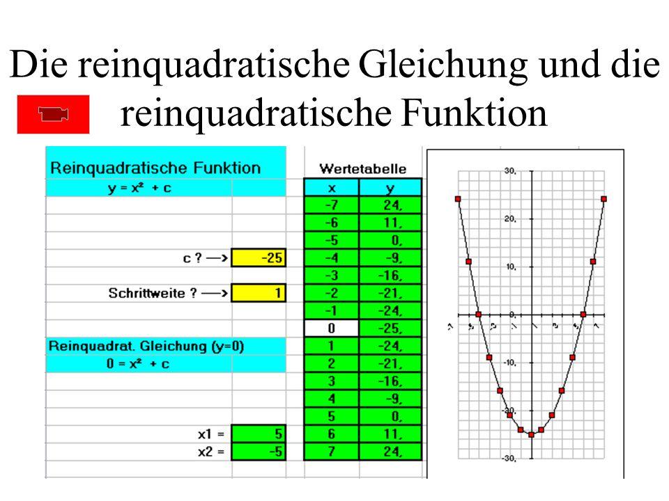 Die reinquadratische Gleichung und die reinquadratische Funktion