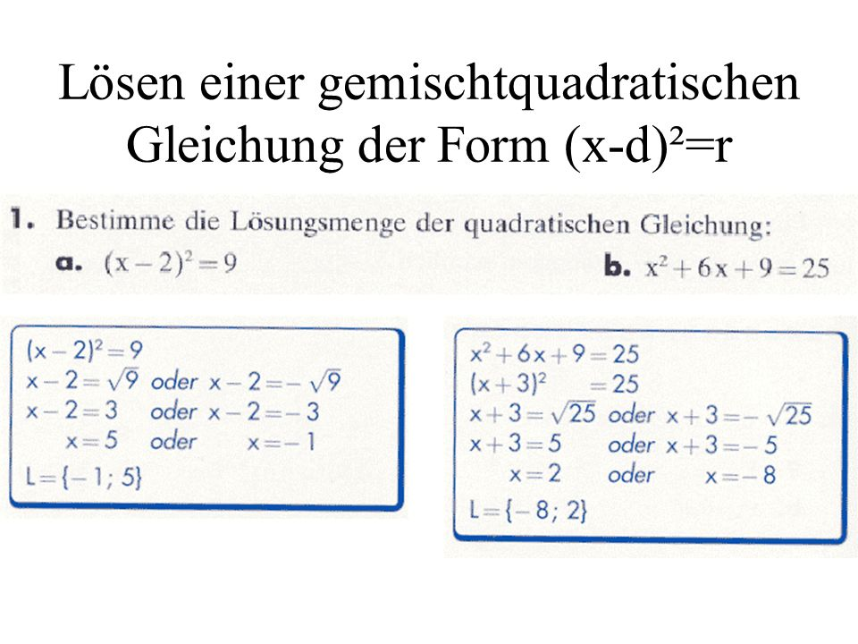 Lösen einer gemischtquadratischen Gleichung der Form (x-d)²=r
