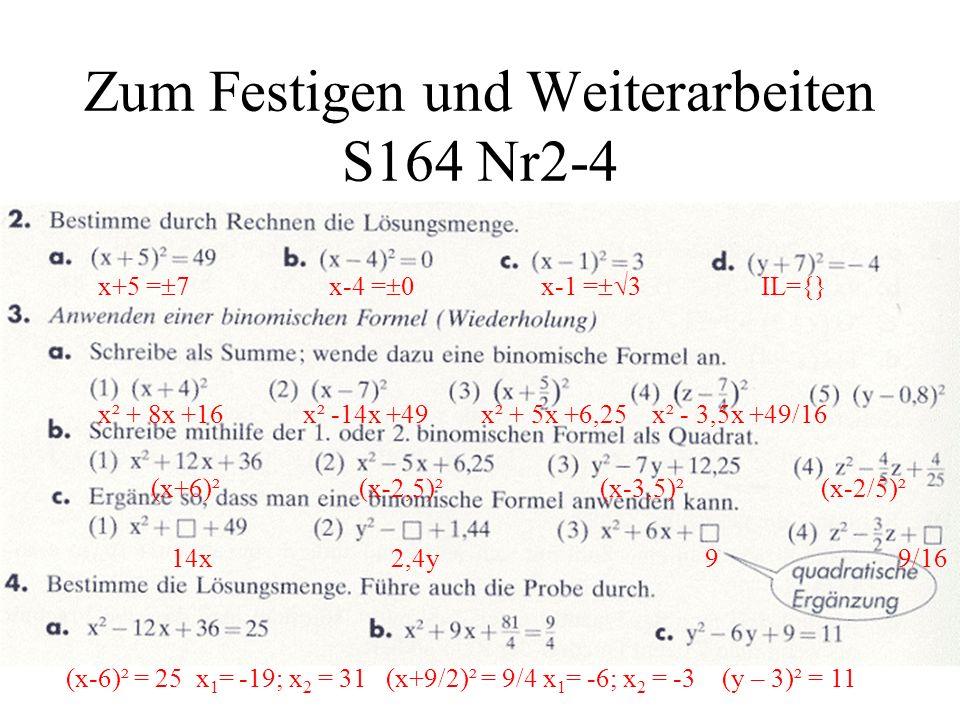 Zum Festigen und Weiterarbeiten S164 Nr2-4