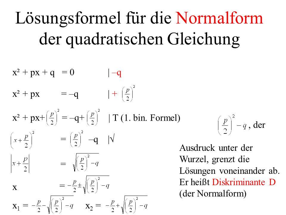 Lösungsformel für die Normalform der quadratischen Gleichung