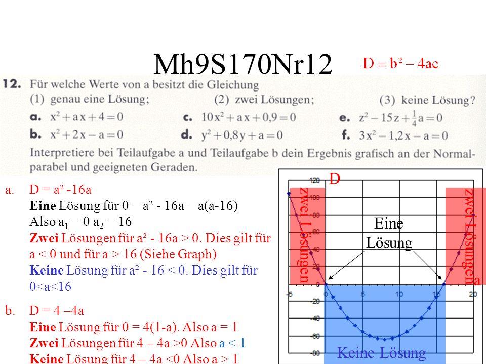 Mh9S170Nr12 D zwei Lösungen zwei Lösungen Eine Lösung a Keine Lösung