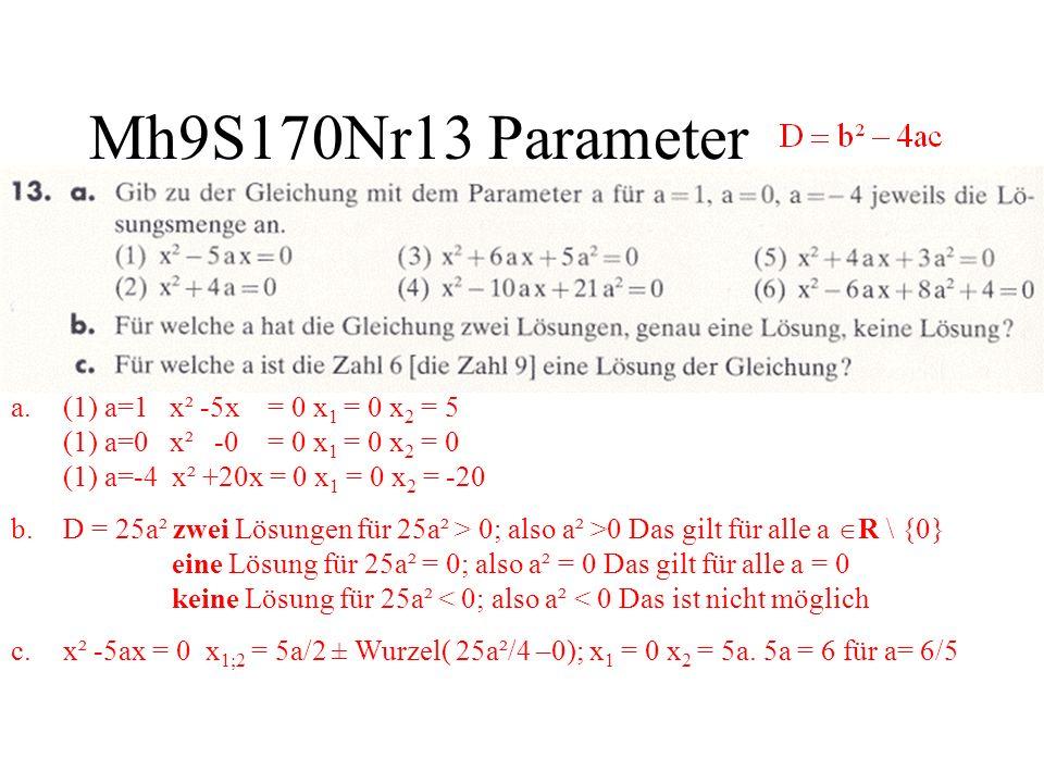 Mh9S170Nr13 Parameter (1) a=1 x² -5x = 0 x1 = 0 x2 = 5 (1) a=0 x² -0 = 0 x1 = 0 x2 = 0 (1) a=-4 x² +20x = 0 x1 = 0 x2 = -20.