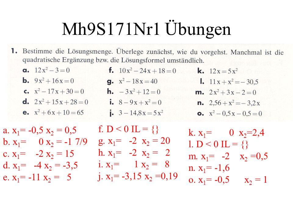 Mh9S171Nr1 Übungen a. x1= -0,5 x2 = 0,5 b. x1= 0 x2 = -1 7/9 c. x1= -2 x2 = 15 d. x1= -4 x2 = -3,5 e. x1= -11 x2 = 5.