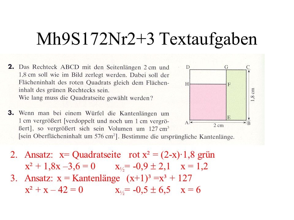 Mh9S172Nr2+3 Textaufgaben