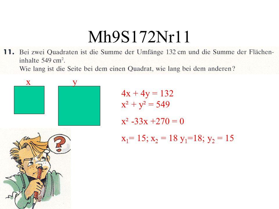 Mh9S172Nr11 x y 4x + 4y = 132 x² + y² = 549 x² -33x +270 = 0