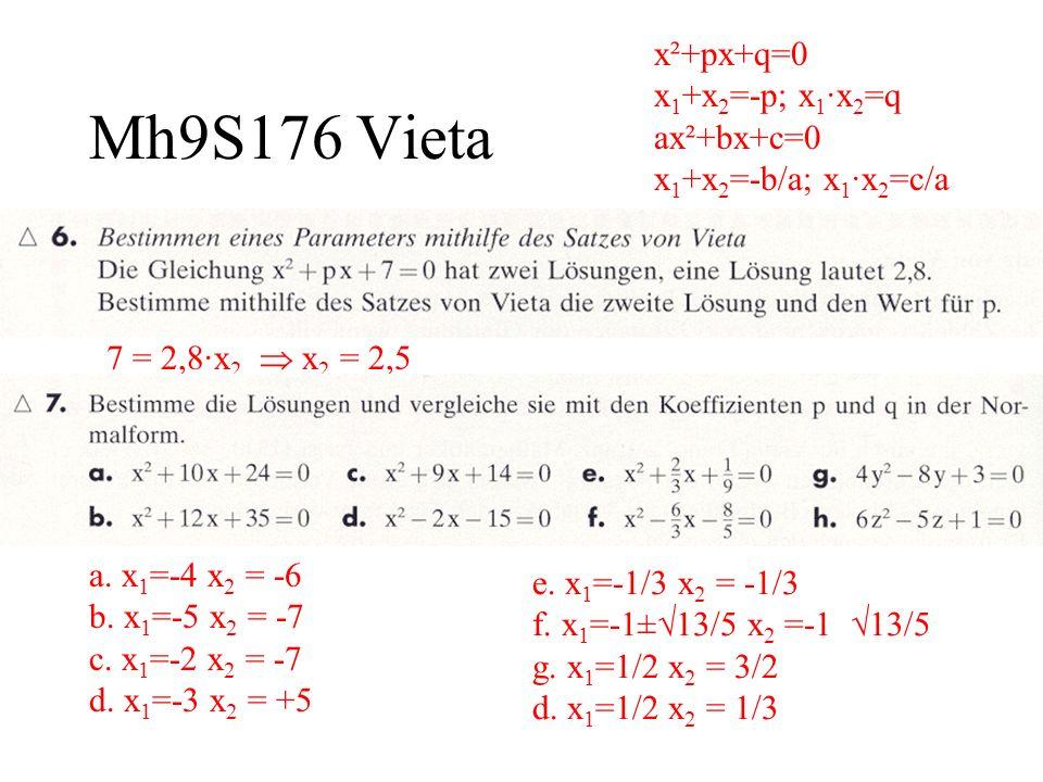 x²+px+q=0 x1+x2=-p; x1·x2=q ax²+bx+c=0 x1+x2=-b/a; x1·x2=c/a
